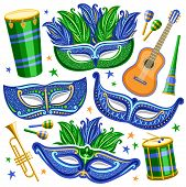 Vector Set For Brazil Carnival, Cut Out Illustrations Of Objects For Carnival In Rio De Janeiro, Dru poster