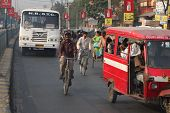 SILIGURI, INDIA - DECEMBER 4: Streets Siliguri - a transit point for air, road and rail traffic to N