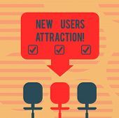 Word Writing Text New Users Attraction. Business Concept For Something That Makes Showing Want For A poster
