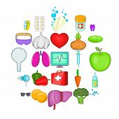Folk Remedies Icons Set. Cartoon Set Of 25 Folk Remedies Icons For Web Isolated On White Background poster