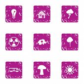 Climatic Icons Set. Grunge Set Of 9 Climatic Icons For Web Isolated On White Background poster