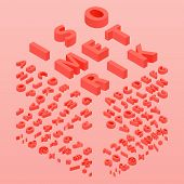 3d Font Color Living Coral, Three-dimensional Alphabet. Isometric Alphabet Font. 3d Effect Letters,  poster