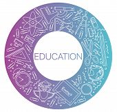 Modern Linear Concept Of Education In Circle With Thin Line Icons. Education. Set Of Line Icons Educ poster