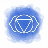 Ajna Icon. The Sixth Frontal Chakra. Third Eye. Vector Indigo Blue Smoky Circle. Line Symbol. Sacral poster