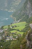 Flydalsjuvet Viewpoint Top View Of The Ship Approaches The Pier Geiranger Fjord, Norway poster