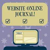 Conceptual Hand Writing Showing Website Online Journal. Business Photo Text Periodical Publication P poster