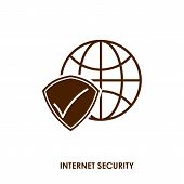 Internet Security Icon In Trendy Design Style. Internet Security Icon Isolated On White Background.  poster