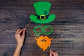 Saint Patrick Day Concept. Paper Patrick Day Leprechaun Props: Green Leprechaun Hat Orange Beard Ora poster