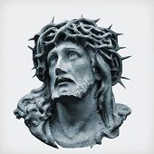 Antique Statue Of Jesus Christ Crown Of Thorns Against White Background. poster