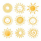 Sketch Sun Icons. Hand Drawn Sunshine. Summer Morning Sunrise. Doodle Vector Warming Symbols Isolate poster