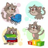 Eighth Part Of A Collection Of Icons With Cats For Design. A Cat With A Baby Stroller, A Cat Is Walk poster