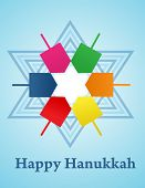 pic of dreidel  - Hanukkah background with menorah and colorful dreidels - JPG