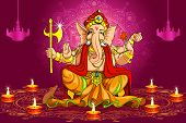 pic of ganapati  - vector illustration of Lord Ganesha for Deepawali - JPG
