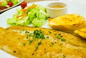 picture of dory  - Pacific Dory fish steak with salad and vegetables - JPG