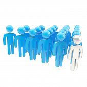 stock photo of sm  - Leadership conception metaphor as a crowd of symbolic human figures with a leader ahead composition isolated on white background - JPG