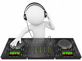 stock photo of disc jockey  - 3d white person disc jockey with a mixer and headphones - JPG