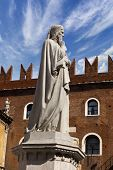 image of alighieri  - Photo of the statue of Dante Alighieri in Piazza dei Signori in Verona - JPG