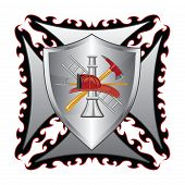 stock photo of maltese-cross  - Illustration of a fire department or firefighter - JPG