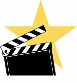 foto of crew cut  - Opened movie clapboard used by movie directors with bright star behind - JPG