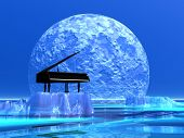 stock photo of iceberg  - Piano standing on a iceberg in front of the moonlight - JPG
