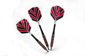 picture of fletching  - Three darts thrown into a white background - JPG