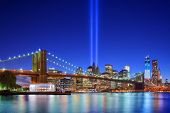 New York Citys Tribute in Light 11. September Memorial.