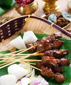 Beef satay, roasted meat skewer Malay food. Traditional Malaysia food. Hot and spicy Malaysian dish,