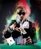 stock photo of poker hand  - Portrait of a professional poker player - JPG