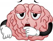 stock photo of sleepy  - Illustration of Tired and Sleepy Brain Mascot - JPG
