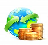 picture of save earth  - Vector illustration of global money transfer concept with blue glossy earth globe and golden coins isolated on a white background - JPG