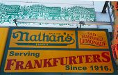 The Nathan s original restaurant sign at Coney Island, New York