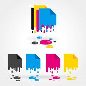 CMYK en blanco gotas de color