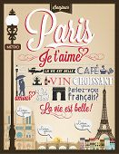 stock photo of arch  - Typographical Retro Style Poster With Paris Symbols And Landmarks - JPG