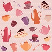 picture of teapot  - Tea pattern with cups - JPG