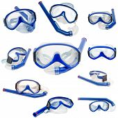 image of rubber mask  - diving mask and tube for diving under water - JPG