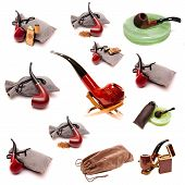 image of peace-pipe  - a set of pipes for smoking tobacco pouch ashtrays and lighters - JPG