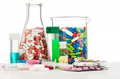 stock photo of flask  - All possible different drugs in laboratory tubes and flasks and tablets in packages and test tubes isolated on white - JPG