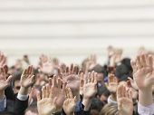 pic of democracy  - Closeup of business crowd raising hands - JPG