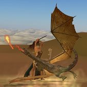 stock photo of woman dragon  - A warrior woman raises her sword to kill a fire breathing dragon - JPG