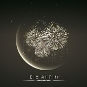 foto of eid card  - Shiny illustration of crescent of moon with fireworks in the night on occasion of muslim community festival Eid Al Fitr  - JPG