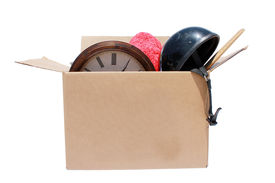 stock photo of yard sale  - A Genuine Box of used items ready for a garage sale - JPG