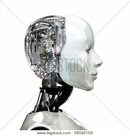 A robot woman head with internal technology poster