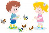 stock photo of chickadee  - Little boy and girl feeding a small flock of sparrows and titmice - JPG