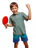 foto of ping pong  - table tennis athlete ping pong boy experiencing joy of victory winning success emotions - JPG