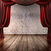 picture of comedy  - Wood stage background with theatrical curtains  - JPG