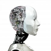 stock photo of fiction  - A robot woman head with internal technology  - JPG
