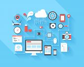 image of computer  - Vector illustration concept of SEO optimization data analysis and storage cloud computing social media and program coding isolated on blue background with long shadow - JPG