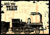 image of train-wheel  - vector illustration of an old dirty train - JPG