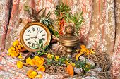 Still Life With Clock, Old Oil Lamp, Sea-buckthorn And Mushrooms