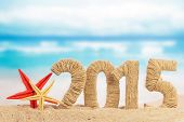 picture of starfish  - New year 2015 sign on the beach  - JPG
